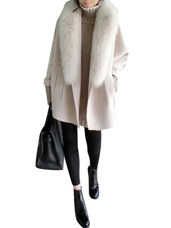 L-4XL Elegant Women Faux Fur Collar Woolen Coats