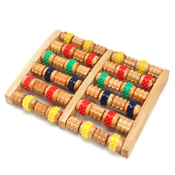 Wooden Roller Foot Massager Acupuncture Points Massage Relaxing Stress Pain Relief Foot Reflexo