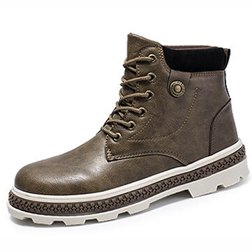 Men Vintage Soft Lace Up Leather Ankle Boots
