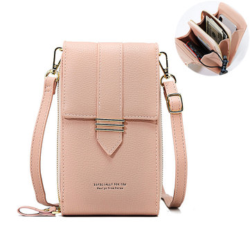 Women Faux Leather Multi-pockets Shoulder Bag