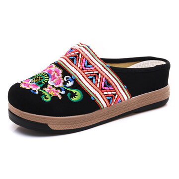 Women Embroidery Cloth Slippers Retro Chinese Style Sandals