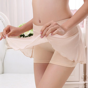 Modal Safety Shorts With Stretched Mesh Skirt Underwear Panties