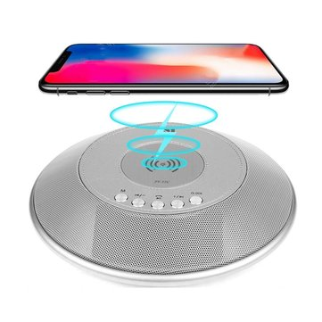 8 in 1 Bluetooth Speaker 2000mAh QI Wireless Charge FM NFC Alarm Clock Charging Pad Subwoofer