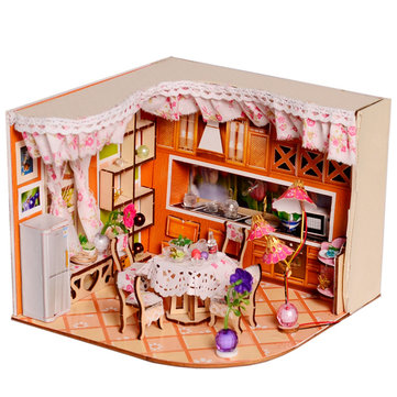 Vrolijk Puzzel Sweet Home Habitat Room DIY Dollhouse Kit Met LED Licht Houten Decoratie