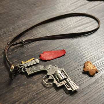 Vintage Unisex Gun Model Metal Letter Leather Rope Necklace