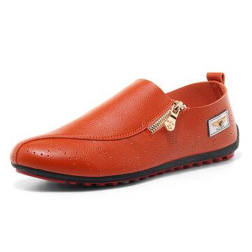 Men Casual Soft Sole Side Zipper Leather Flat Loafers