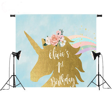 5x3ft 7x5ft Gold Unicorn Children Party Photography Backdrop Studio Prop Background