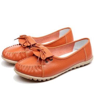 Женщин вскользь мягкая удобная открытая зашнуровать кожи плоские туфли бездельники