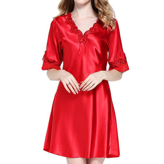 Silk Soft Half Sleeve Raw Cut Sleepwear