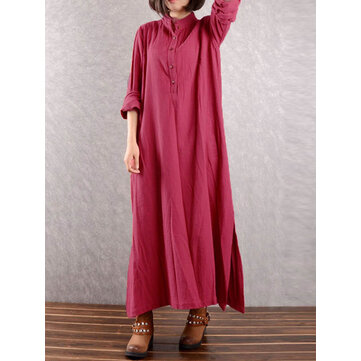 Women Vintage Long Sleeve Button Stand Collar Split Loose Maxi Dresses