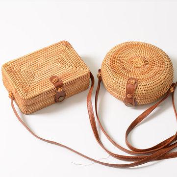 Women Designer Rattan Shoulder Bag Plain Weave Straw Bag