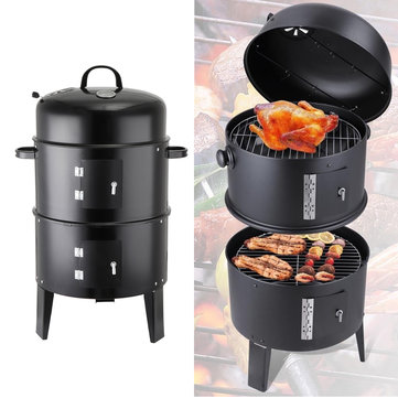 3in1 BBQ Grill Roaster Smoker Steamer Steel Portable Outdoor Charcoal Cooking