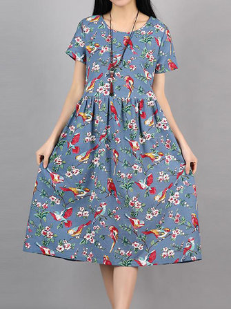 Gracila Birds Print Short Sleeve Dress