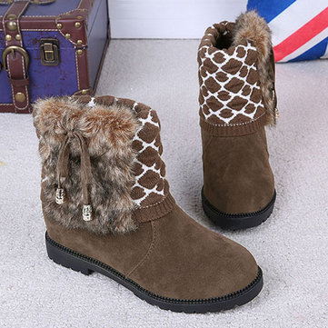 Winter Cotton Flat Butterfly Knot Fur Lining Short Boots For Women