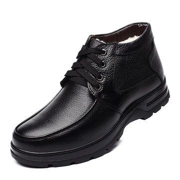 Men Casual Winter Boots Lace Up Warm Boots Plus Anti Skid High-Top Boots