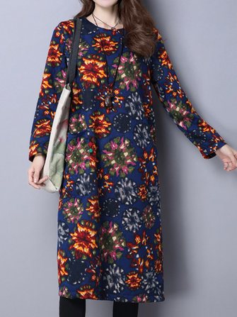 Ethnic Printing Velvet Thick Loose Women Dress
