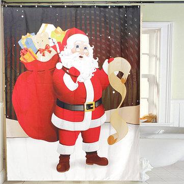 150x180cm Noel Baba Su Geçirmez Duş Perdesi Banyo Noel Dekoru, 12 Kanca
