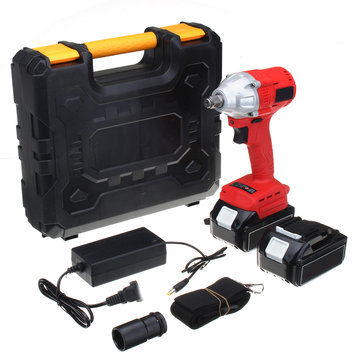 25V 8800mAh Cordless Electric Impact Wrench 2 Li-Ion Battery 1 Charger Brushless