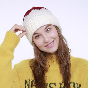 Women Winter Cute Patchwork Small Tail Knitted Hat