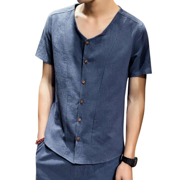 Soft Comfy Linen Cotton V Neck Short Sleeve Loose Shirts for Men