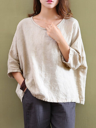 Casual Women Pure Color Pocket 3/4 Sleeve Cotton Tops