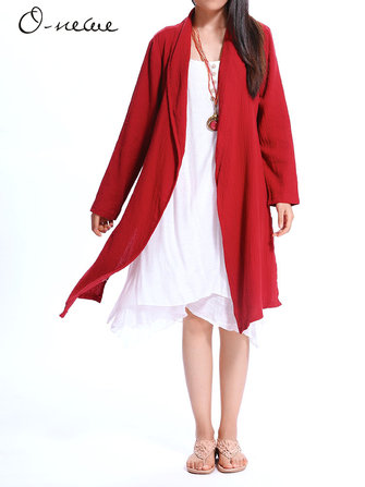 Loose Women Solid Lapel Asymmetric Trench Coat Cardigans