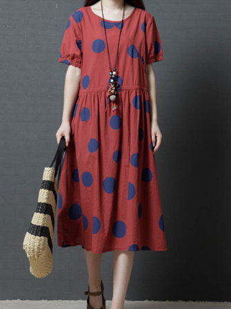 Vintage Women Polka Dot Print Short Sleeve Dress