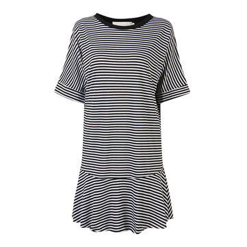 Women Summer O-Neck Loose Half Sleeve Striped Mermaid Skirt Casual Dress