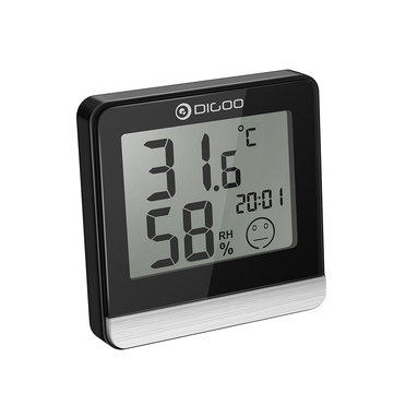 [2019 Third Digoo Carnival] Digoo DG-BC20 Bathroom LCD Digital Thermometer with Time Comfort Level Display IP45 Waterproof Humidity and Temperature Sensor Hygrometer Monitor