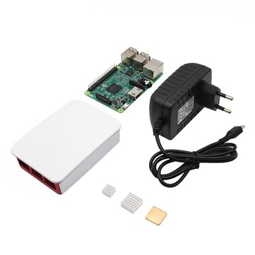 4-in-1 Raspberry Pi 3 Model B + Official Case + 5V 2.5A EU Plug Power Adapter + Heat Sink Kit