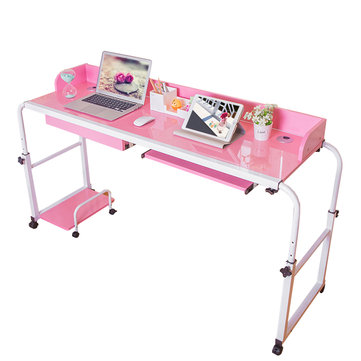 Home Rolling Adjustable Computer Desk Table Over Bed Laptop Storage Furniture