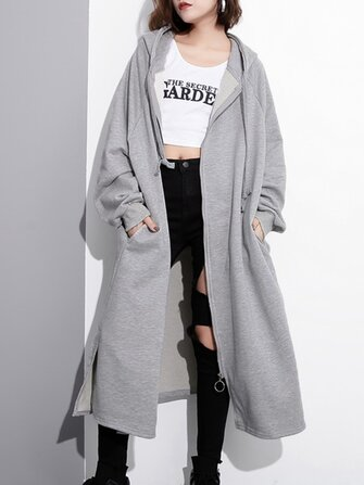 Casual Women Solid Color Zip Up Long Sleeve Split Hooded Coat