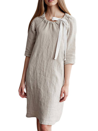 Casual Women Cotton Linen 3/4 Sleeve Dress