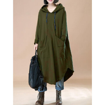 L-5XL Casual Women Solid Color Hooded Dress