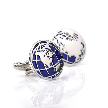 Unisex Smart Blue Round Globe Map Cufflinks