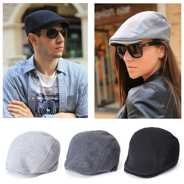 Unsiex Simple Beret Cabbie Newsboy Flat Hat Cotton Cap