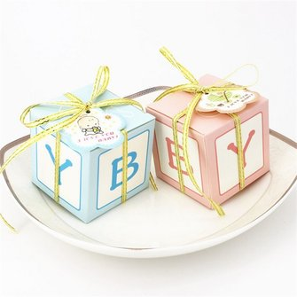 50Pcs Square BABY Printed Candy Box Birthday Party Gift Boxes Wedding Favors Supplies