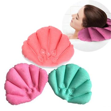 Honana Bathroom Products Home Spa Inflatable Pillow Cups Shell Shaped Neck Bathtub Cushion Random Color Accessories