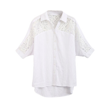 Elegant Lace Crochet Patchwork Hollow Out Women Linen Blouse