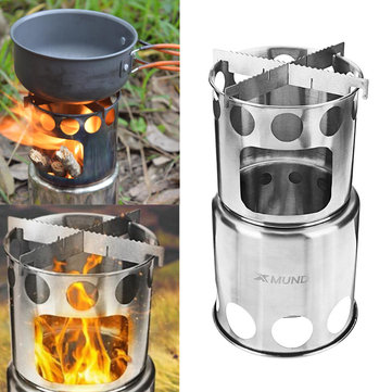 Xmund XD-ST3 Cooking Stove Portable Stainless Steel Wood Burning Stove for Backpacking Hiking Picnic
