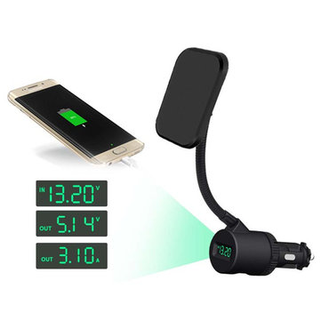 Dual USB Charging LCD Display Powerful Magnetic 360 Degree Rotation Phone Holder for iPhone Xiaomi