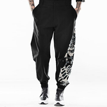 Mens Chinese Style Totem Printed Cotton Trendy Harem Pants