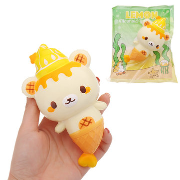 Yummiibear Lemon Mermaid Squishy 15.5*10.5cm Slow Rising With Packaging Collection Gift Soft Toy