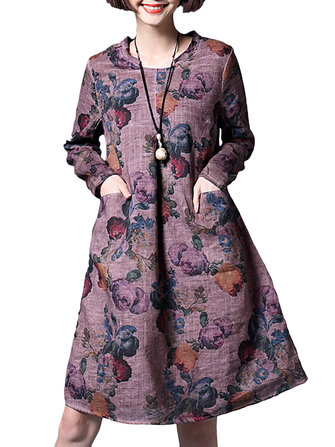 Casual Women Loose Vintage Printing Long Sleeve Dress