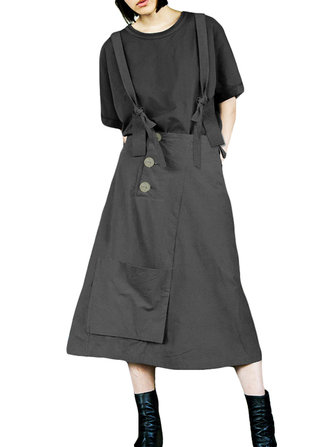 Women Adjustable Straps Solid Color Overall Pinafore Long A Line Skirts