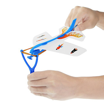 DIY Foam Elastic Rubber Band Powered Glowing Airplane Kit Model Kids Children Christmas Gift Toys