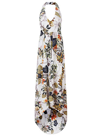Women Sexy Halter Backless Floral Printed Chiffon Maxi Dress