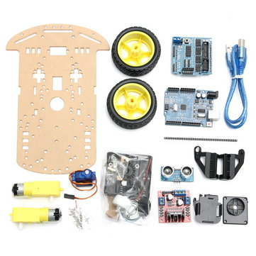 2WD Avoidance Tracking Smart Robot Car Chassis Kit With Speed Encoder Ultrasonic For Arduino UNO R3