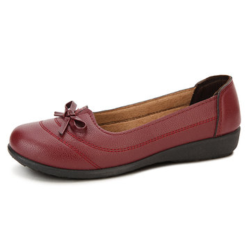 Women Casual Soft Flats Shoes Comfortable PU Round Toe Slip On Flat Loafers Shoes
