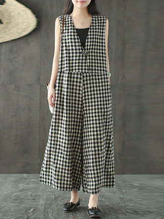 Women Vintage Sleeveless Plaid Wide Leg Jumpsuit